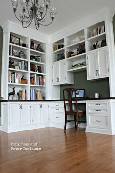 A DIY home office with built-in bookshelves. See how I went about constructing this built-in desk with inset doors and drawers.