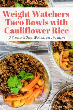 Zero Weight Watchers Freestyle Points Taco Bowls with Cauliflower Rice