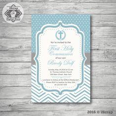 Invitación para imprimir bautismo o comunion niño invitación azul confirmacion invitacion chevron invitacion bautizo COD1 de iscrapdesign en Etsy