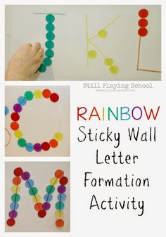 Preschool Rainbow Sticky Wall Letter Formation  : Fine Motor Skills, Letter, and Color Identification from Still Playing School