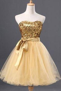 Vestidos de 15 dorados cortos