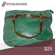 Tommy Hilfiger Forest Green Tote This Tommy Forest Green Tote is in excellent condition and has never been used. It has gold hardware and dark brown detailing. It has one outside pocket for extra storage and 3 inside pockets. This tote also seals closed with a zipper. Tommy Hilfiger Bags Totes