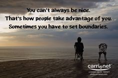 Setting BoundariesBoundaries are rules you live by when you say what you will or won't do or allow. We must be able to identify and respect our needs, feelings, opinions, and rights. If you have difficulty saying no, overrule your needs to please others, or are bothered by someone who is demanding, controlling, criticizing, pushy, abusive, invasive, and so forth, it is your responsibility to speak up.  People often say they set a boundary, but it didn't help. It is very l