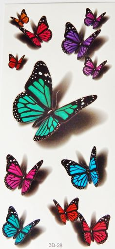 Colorful 3D Butterflies,Scorpions,Cats Temporary Tattoos