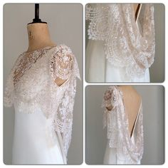 Our exquisite new finest embroidered French lace shrug, perfect for with a low back wedding gown! #laceshrug #vintagelace #vintagewedding