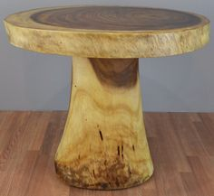 Solid Chamcha Wood Slab Dining Table with Stump Base