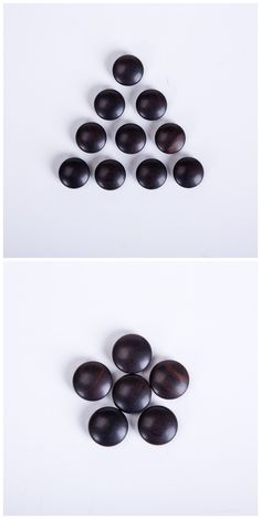 Black wood weiqi beads, double sides, go game beads. 22x9.5mm