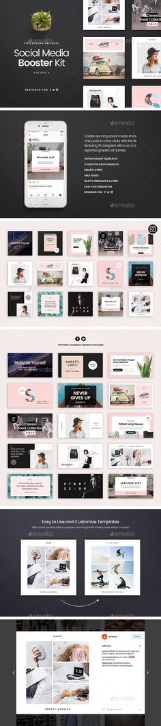 Social Media Booster Kit 4  — PSD Template #branding #templates • Download ➝ https://graphicriver.net/item/social-media-booster-kit-4/18317966?ref=pxcr