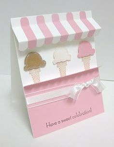 Awning card with ice cream cones - use new Cupcake Party stamp set instead of ice cream cones  (etired Sweet Scoops stamp set was used to make this card)