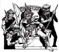 Jim Holloway's hobgoblins are different from most D&D hobgoblins, but I like them. Note the relatively rare appearance of Holloway's name in his illustration. (From D&D module B5: Horror on the Hill, TSR, 1983.)