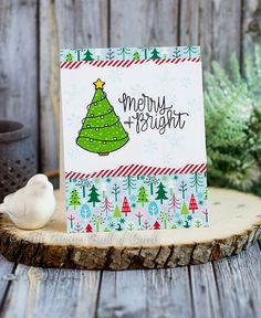 Houses Built of Cards: Merry and Bright Christmas Tree - Simon Says Stamp December Card Kit