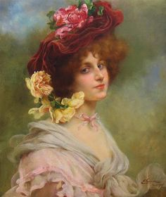 ⊰ Posing with Posies ⊱ paintings of women and flowers - Émile Vernon Vernon, Victorian Paintings, Victorian Art, Vintage Paintings, Art Paintings For Sale, Beautiful Paintings, Art Vintage, Vintage Ladies, Munier