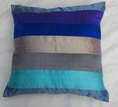 Blue striped decorative cushion cover dupioni silk of blue sheds.  18 inch throw pillow cover -