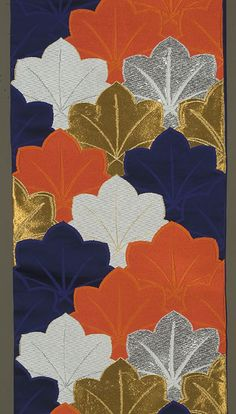 Japanese Fukuro Obi ca. 1970s or 1980s. Gold, silver and silk brocading in red-orange, dark blue and white.