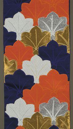 Japanese Fukuro Obi ca. 1970s or 1980s. Gold, silver and silk brocading in red-orange, dark blue and white.