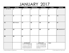 Download a free Printable Monthly 2017 Calendar from Vertex42.com