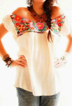 California Inspired: Colorful Lace Neck White Chiffon Blouse