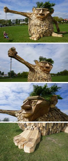 Artist/designer Thomas Dambo has created a whimsical recycled wood sculpture in Horsens, Denmark, who has been named Troels The Troll.