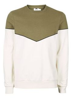 Khaki and Off White Chevron Sweatshirt