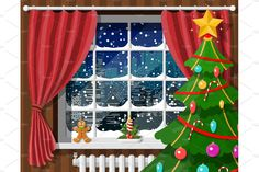 Snowy cityscape in window. by Abscent on @creativemarket