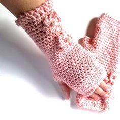 Girls Pink Crochet Gloves // Fingerless Gloves by CrochetMadness4U, $21.00