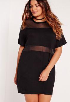Plus Size Mesh Insert Oversize dress Black - Missguided