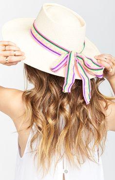 Pamela V ~ Harlow Straw Hat ~ Beige with Pink Textile Tie 8cfd22642205