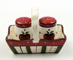 Apple Salt and Pepper Set with Tray