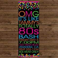 80S DANCE PARTY Invitation Retro 80s Party