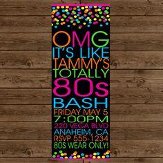 80S DANCE PARTY Invitation Retro 80s Party