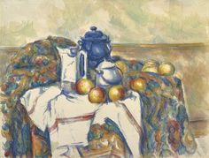 """Paul Cézanne, """"Still Life with Blue Pot,"""" about 1900-1906. Although the groupings seem casual, Cézanne is known to have taken great care with the arrangement, sometimes spending hours positioning the objects."""