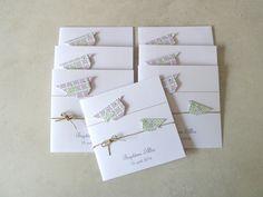 Faire part de naissance, baptême pour fille - carte double, oiseaux en origami rose, vert