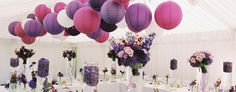 Paper lanterns galore at this beautiful wedding reception. We have them on our site!