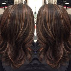 Brown Hair with Caramel Highlights | Dark brown hair with caramel highlights and midlength hair cut by Liz ...