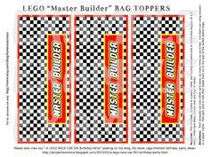 "PDF: 6 1/2 Wide ""Master Builder"" Race Car themed LEGO birthday goody bag toppers - Toy Bricks Building Blocks"