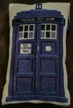 Doctor Who 11th Doctor and Tardis Phone/Electronics Case Cross Stitch...I want this as a blanket :)