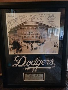 RARE AUTHENTICATED Brooklyn Dodgers Autographed Picture of Ebbets Field