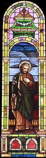 Large Vintage Saint Joseph Church Stained Glass Window DESCRIPTION: Large vintage Romanesque church stained glass window depicting Saint Joseph.