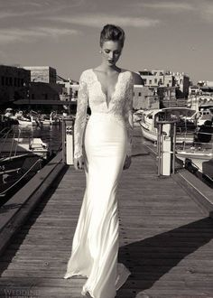 White/Ivory V-neck Backless Long Sleeves Wedding Dress  Gowns Custom Size