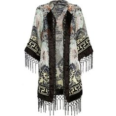 River Island Black oriental floral print kimono (£17) ❤ liked on Polyvore featuring jackets, kimono, tops, cardigans, outerwear, sale and river island