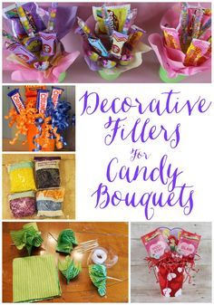 To add some more pizazz to your candy bouquets and/or to cover up the foam holding up the skewered candy, you might want to add a d...