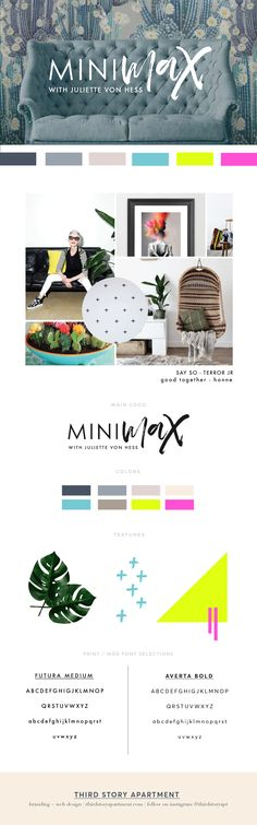 Branding by Lindsey Eryn Clark of Third Story Apartment Branding, Logo Design, Logo Inspiration, brand identity inspo, script logo inspo, sans serif logo inspo, modern logo design, clean logo design, neon color palette, neon and neutral colors, leaf textures, geometric textures, geometric patterns, branding for interior designers, modern branding, graphic design inspo, designspiration