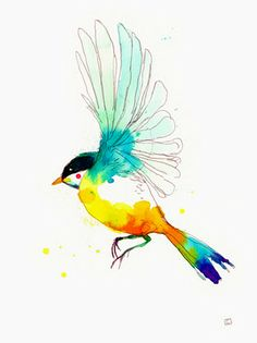watercolor bird. Might make a nice tattoo. Have to consider something like this....