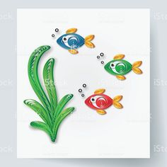 Paper art of fish and alga, quilling style royalty-free paper art of fish and alga quilling style stock vector art & more images of cutting Diy Quilling Crafts, Arte Quilling, Paper Quilling Designs, Quilling Cards, Paper Quilling For Beginners, Quilling Techniques, Quiling Paper Art, Quilling Christmas, Paper Crafts For Kids
