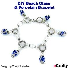 DIY Beach Glass & Blue White Porcelain Bracelet from eCrafty.com ~  some items are from our .99 cent sale! For easy instructions and clickable supply list & links, read on! #diybracelet #diyjewelry #jewelrysupplies #99centbeads #dollarcrafts #beadsale #beads #beading #blue #white #silver #porcelain #ecrafty #balibeads #linkingrings #porcelainbeads #seaglass #seaglassbeads #beachglass #beachglassbeads