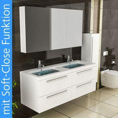 Waschtisch Unterschrank Doppelwaschbecken Eckig Weiss Badmöbel Spiegelschrank in Heimwerker, Bad & Küche, Badkeramik | eBay