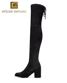 Women Boots Black Kid Suede Over The Knee Boots Winter Boots Women Sexy Slim Fit Stretch Suede Thigh High Boots Botas Thigh High Boots, Over The Knee Boots, Heeled Boots, Women's Boots, Black Kids, Boots Women, Thigh Highs, Winter Boots, Black Suede
