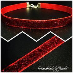 Red Sparkle Boho Choker Necklace  Choker Necklace  Red