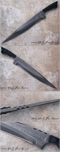 Ketryn would drool over this knife. (source: Mick Strider, Hand Forged Fighter with Clay Tempered 1095 Steel Blade) Cool Knives, Knives And Tools, Knives And Swords, Survival, Swords And Daggers, Fantasy Weapons, Custom Knives, Damascus Steel, Knife Making