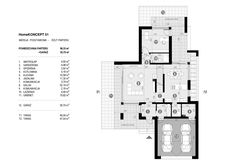 DOM.PL™ - Projekt domu CPT HomeKONCEPT-51 CE - DOM CP1-60 - gotowy koszt budowy Concept Home, Modern House Plans, Design Case, Ideal Home, Living Room Decor, Villa, Floor Plans, Exterior, House Design